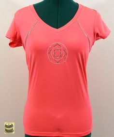 On Sale Coral Cap Sleeved Yoga Shirt embroidered with temple mandala design. Originally by Velocity. Tags still on. 20.99