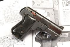 Semmerling LM-4 repeating pistol  Designed by Philip R. Lichtman and produced by Semmerling Corp. in Boston, Massachusets around the 1970′s. .45ACP 4+1 round removable box magazine, double action manual repeater. The Semmerling pistol saw a small production run of only 600 guns in the early 1980′s. It was made of only 33 high resistance S-7 tool steel parts, which on top of being the smallest handgun chambered for .45ACP made it a desirable back up weapon for secret operative.