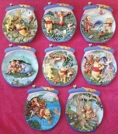 Lot of 8 Vintage Disney Winnie The Pooh Bradford Exchange 3D Collector Plates