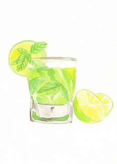 Original watercolor Painting Mojito Cocktail by MilkFoam on Etsy
