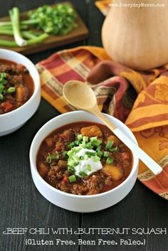 Gorgeous beef chili with butternut squash by Everyday Maven. Gluten Free and Paleo Friendly Recipe.