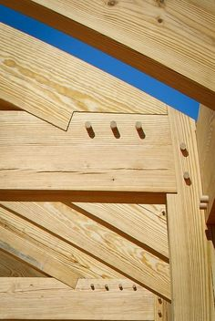 """We're often asked, """"What is the best wood for timber framing?"""" Here, in one place, is how to choose timber for your timber frame. Timber Frame Homes, Timber House, Timber Architecture, Architecture Details, Oak Framed Buildings, Pine Timber, Timber Structure, Wood Joints, Wood Construction"""