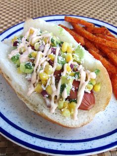 Turkey Dogs with Corn Salsa and Chipotle Cream via @Erin (The Spiffy Cookie)