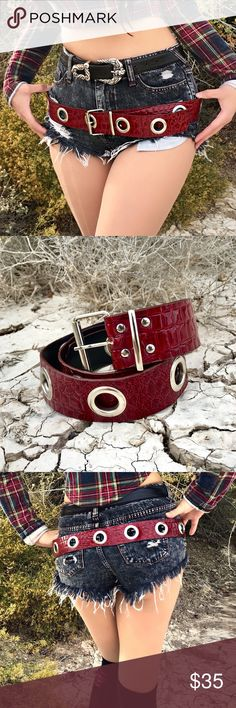 VTG 90s Oxblood Red Vegan Leather Belt Words can't even begin to describe this belt. Just look at it 😍 Amaze deep oxblood red color with shiny crocodile textured design.🐊 Large silver eyelets all around allow adjustability 4 your desired fit. Angels are crying over its beauty. 😇😭🔥💋 perfect for those punk rock goth babe grunge looks. Pair with leggings, combat boots, and red lips to 🔥. Or whatever your ❤️ desires. Condition : Amaze. Not Unif! Measurements soon... UNIF Accessories Belts