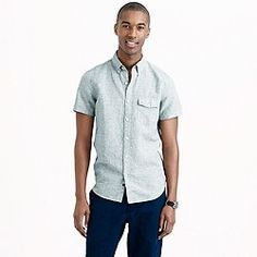 Short-sleeve shirt in end-on-end cotton-linen