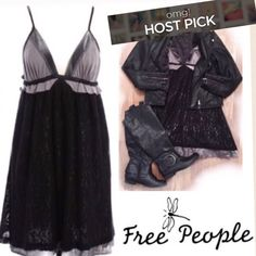 """HP NWT Free People Shimmer Lace Dress Brand new, gorgeous Free People Black &  Taupe Shimmery Lace Dress. Size 10. Measure are: Bust: 28"""" Waist: 34"""" Hips: 46"""" Length: 35"""". Adjustable Spaghetti Straps. It has velvet trimming around the top. Pair with a leather jacket & some riding boots for a cool, winter look!! Check out my other Free People dress listings! Bundle & save! Free People Dresses Midi"""