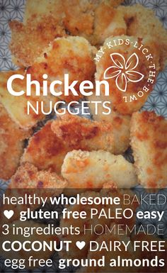 Healthy Baked Coconut Chicken Nugget for kids. A 3 ingredient recipe, allergy friendly. and suitable for a paleo diet Healthy Chicken Nuggets, Healthy Baked Chicken, Gluten Free Chicken, Healthy Meals For Kids, Healthy Baking, Kids Meals, Healthy Snacks, Dairy Free Eggs, Egg Free