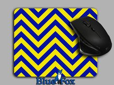 Chevron Mousepad Blue and Yellow Michigan mouse by BlueFoxGifts, $9.99