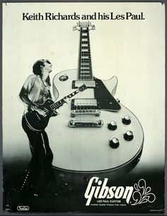 Keith Richards in-store poster for Gibson guitars, 1975