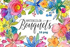 Free Watercolor bouquets of flowers by GraphicsDish - By Creative Sofa.
