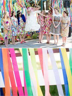rainbow bridesmaids #rainbowwedding #streamers #weddingchicks http://www.weddingchicks.com/2013/12/19/festive-floral-wedding/