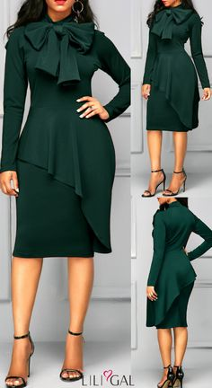 Dark Green Long Sleeve Tie Neck Sheath Dress   #liligal #dresses #womensfashionclassydresses