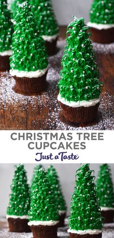 This Christmas Tree Cupcakes recipe stars moist chocolate cupcakes topped with sugar cones adorned with bright green frosting and edible silver sprinkle ornaments. Add this holiday dessert recipe to your Christmas baking list! justataste.com #recipes #desserts #christmastreecupcakes #holidaytreats #holidaybaking #christmascupcakes #justatasterecipes Holiday Baking, Christmas Desserts, Christmas Baking, Christmas Treats, Holiday Treats, Holiday Recipes, Christmas Tree Chocolates, Christmas Tree Cupcakes, A Christmas Story