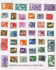 free digital collage sheets  postage stamps