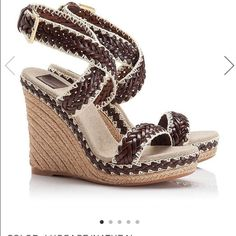 Tory Burch Lilah Wedge Brown Tory Burch Wedges in brown.  Worn once, in perfect condition. Tory Burch Shoes Wedges