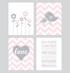 Baby Girl Nursery Art  Chevron pink and gray  by CreativeWildChild, $50.00