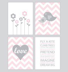 Nursery Art Chevron pink and gray set of by CreativeWildChild