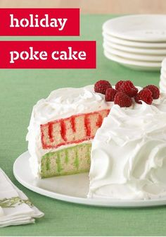Holiday Poke Cake — Get an answer ready. Everyone will want to know how you did the stripes. Hope Santa doesn't find out if you fib...