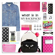 """""""In My Backpack (Contest Entry)"""" by jafashions ❤ liked on Polyvore featuring Betsey Johnson, Acne Studios, Kate Spade, Incase, Yoobi, Sharpie, ban.do, ZeroUV, tarte and Agent 18"""