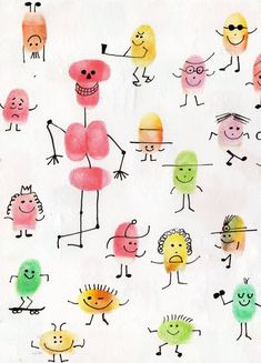 Les personnages avec les empreintes des doigts Diy For Kids, Crafts For Kids, Arts And Crafts, Drawing For Kids, Painting For Kids, Fingerprint Crafts, Finger Art, Thumb Prints, Footprint Art