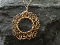 Crocheted pendant 14k gold filled crocheted circle by ScentOfGold, $26.00 It's One of a Kind!