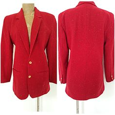 Vintage 80s Holiday Party Blazer Size Medium Red Jacket Wool Suit Coat Business #LizClaiborne #Blazer