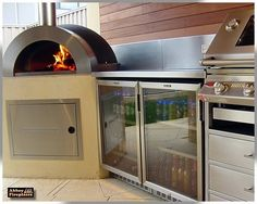 Pizza oven, fridge and BBQ set up