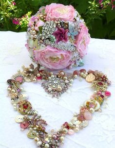 Design by DJ Bouquets... ♥ Floral and vintage jewelled 'Summer Bouquet'