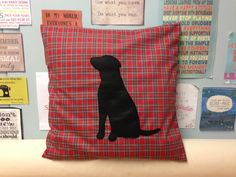 Man's Best Friend  Red Tartan Cushion Pillow Cover by BeUniqueBaby