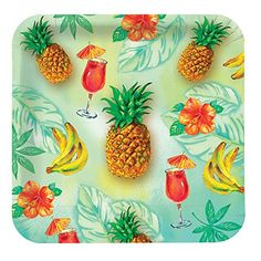 Creative Converting 8 Count Square Paper Dessert/Lunch Plates, Pineapple Punch Creative Converting