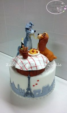 Disney Party Ideas: Lady and the Tramp Party Cupcakes, Cupcake Cakes, Disney Desserts, Disney Cakes, Crazy Cakes, Fancy Cakes, Unique Cakes, Creative Cakes, Parisian Cake