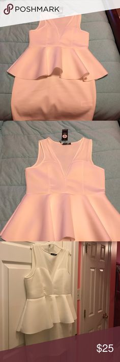 Brand new boohoo white dress Brand new never worn boohoo peplum white bodycon dress. Size 14 us but fits like a size 12. Boohoo Dresses