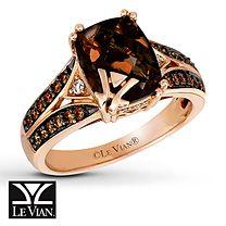 LeVian Chocolate Diamonds 14 ct tw Ring 14K Strawberry Gold Knick