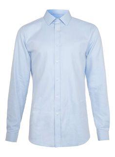 Sky Blue Diagonal Twill Long Sleeve Smart Shirt Online only