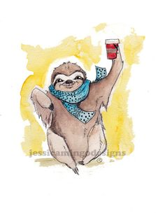 Hey, I found this really awesome Etsy listing at https://www.etsy.com/listing/169046545/caffeinated-sloth-print-sloth-art-coffee