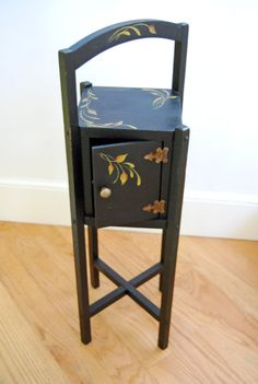 painted small tables | Small Black Hand Painted Side Table by maureenbaker on Etsy