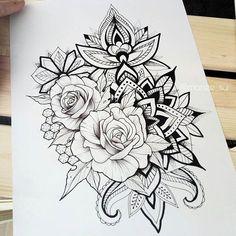 dessins de tatouage 2019 Right thigh - Tattoo Designs Photo Mandala Tattoo Design, Flower Tattoo Designs, Rose Tattoos, Body Art Tattoos, Girl Tattoos, Tatoos, 42 Tattoo, Tattoo Drawings, Forearm Flower Tattoo