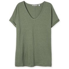Linen V-Neck T-Shirt ❤ liked on Polyvore featuring tops, t-shirts, shirts, t shirts, vneck tee, linen t shirt, v neck t shirts and linen tee
