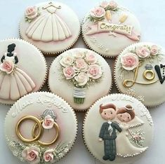 Wedding and Bridal Shower Cookies – Blush & Pine Creative Find some good ideas for bridal shower cookies and wedding cookies to use for your wedding. Some good options for fall weddings, spring weddings. Cute Cookies, Cupcake Cookies, Sugar Cookies, Owl Cookies, Cookie Icing, Royal Icing Cookies, Cookie Cutters, Elegant Cookies, Elegant Cupcakes