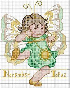 Toddler Birthstone Fairy November Topaz Cross Stitch Pattern 3/5