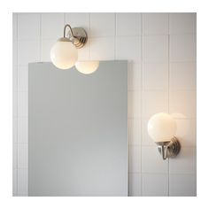 LILLHOLMEN Wall lamp, nickel plated, white - nickel plated/white