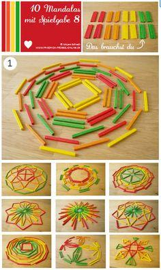Vorlage Nr. 1 zum Mandala legen mit Kindern mit dem Legespiel Spielgabe 8: http://www.friedrich-froebel-online.de/s-p-i-e-l-g-a-b-e-n/8-legespiel-geometrische-formen/ Legespiele kaufen:  http://www.friedrich-froebel-online.de/shop/