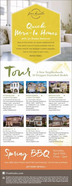New Homes for Sale in Santa Clarita, California  Quick Move-In Homes with 3% Broker Referral at Five Knolls  6 New Neighborhoods, 18 Designer-Furnished Models  |  Spring BBQ Saturday 4/30 from 11am-2pm  |  Come for Food, Fun, and Music!  http://fiveknolls.com/live-here/