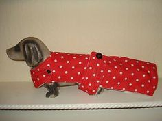 NEW HANDMADE DOG COAT 16.5 RED&WHITE POLKA DOT,FLEECE LINED,DACHSHUND,SMALL DOGNEW HANDMADE DOG COAT 16.5 RED&WHITE POLKA DOT,FLEECE LINED,DACHSHUND,SMALL DOG