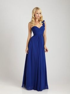 A-line Hand-Made Flower One Shoulder Sleeveless Floor-length Chiffon Bridesmaid Dresses