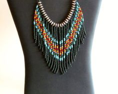 Native American style fringed necklace in by MontanaTreasuresbyMJ