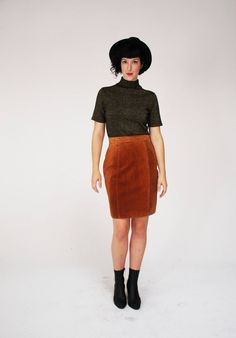 5849290e96 Brown Suede Skirt - Vintage, Pelle Cuir, Leather, Medium, Fall, High  Waisted, Cute