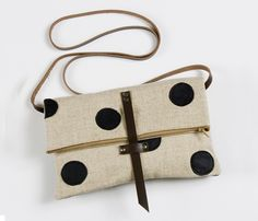 Leather Dots Foldover Bag
