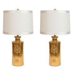 Pair of Swedish 22kt Gold Glazed Porcelain Lamps