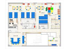 Plano a color de distribución y mobiliario para guardería infantil.